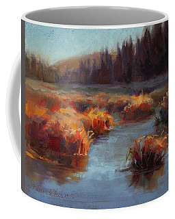 Coffee Mug featuring the painting Misty Autumn Meadow With Creek And Grass - Landscape Painting From Alaska by Karen Whitworth