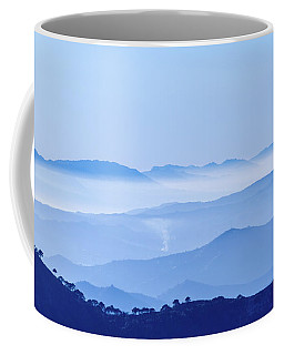 Coffee Mug featuring the photograph Misty Blue Mountain Panorama by Geoff Smith