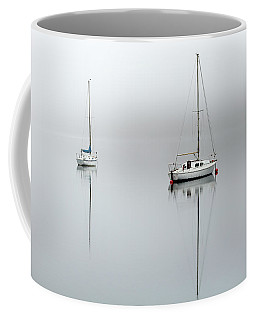 Coffee Mug featuring the photograph Misty Boats by Grant Glendinning