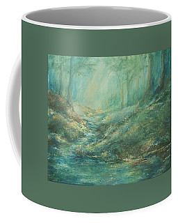 The Misty Forest Stream Coffee Mug by Mary Wolf