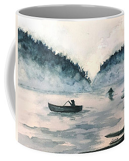 Coffee Mug featuring the painting Misty Lake by Lucia Grilletto