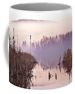 Coffee Mug featuring the photograph Misty Morning At Vaseux Lake by John Poon