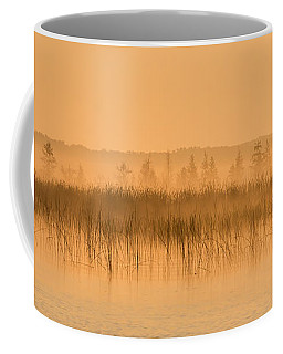 Misty Morning Floating Bog Island On Boy Lake Coffee Mug