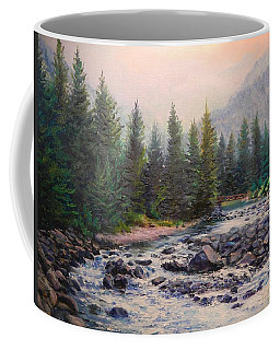 Misty Morning On East Rosebud River Coffee Mug