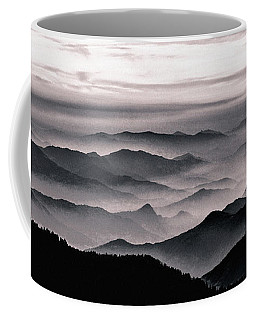 Coffee Mug featuring the mixed media Misty Mountain Noir by Susan Maxwell Schmidt