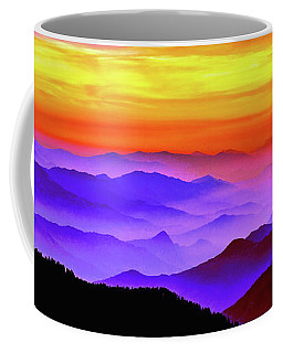 Coffee Mug featuring the mixed media Misty Mountains Sunset by Susan Maxwell Schmidt