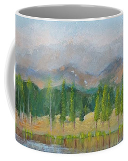 Coffee Mug featuring the painting Misty Mountains by Margaret Bobb