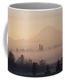 Misty Mt. Rainier Sunrise Coffee Mug