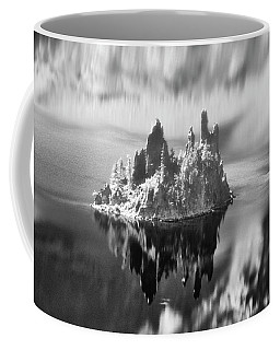Misty Phantom Ship Island Crater Lake B W  Coffee Mug