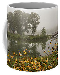 Misty Pond Bridge Reflection #3 Coffee Mug