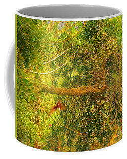 Misty Yellow Hue- Ringed Kingfisher In Flight Coffee Mug