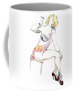 Coffee Mug featuring the mixed media Mitzi - Female Nude, Pinup by Carolyn Weltman