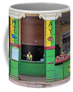 Coffee Mug featuring the photograph Mjay Fruit Stand Havana Cuba by Charles Harden