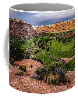 Moab Desert Canyon Golf Course At Sunrise Coffee Mug