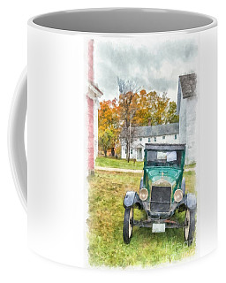 Model A Ford Watercolor Canterbury Shaker Village Coffee Mug