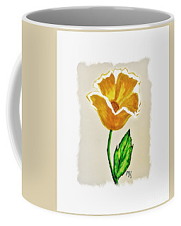 Coffee Mug featuring the painting Modern Gold Flower by Marsha Heiken