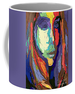 Coffee Mug featuring the digital art Modern Impressionist Female Portrait by Rafael Salazar