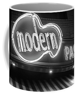 Modern Pastry Shop Boston Ma North End Hanover Street Neon Sign Black And White Coffee Mug