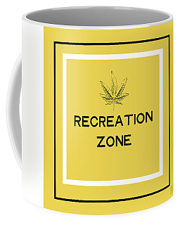 Coffee Mug featuring the mixed media Modern Recreation Zone Sign- Art By Linda Woods by Linda Woods