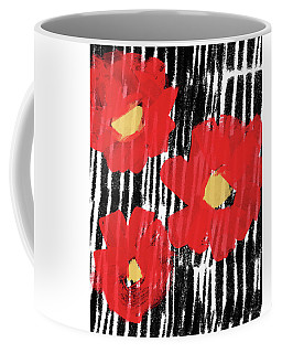 Coffee Mug featuring the mixed media Modern Red Flowers- Art By Linda Woods by Linda Woods