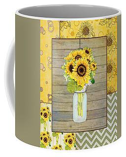Modern Rustic Country Sunflowers In Mason Jar Coffee Mug by Audrey Jeanne Roberts