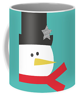Modern Snowman With Star- Art By Linda Woods Coffee Mug