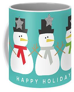 Modern Snowmen Happy Holidays- Art By Linda Woods Coffee Mug