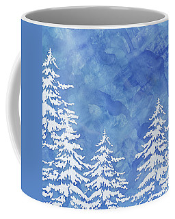 Modern Watercolor Winter Abstract - Snowy Trees Coffee Mug