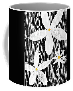 Coffee Mug featuring the mixed media Modern White Flowers- Art By Linda Woods by Linda Woods