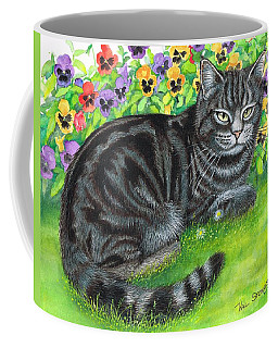 Coffee Mug featuring the painting Moggy In The Pansies by Val Stokes