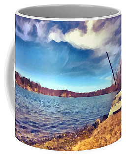Coffee Mug featuring the painting Mohegan Lake Lonely Boat by Derek Gedney
