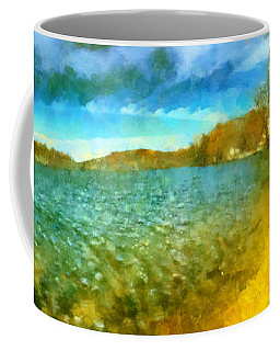 Coffee Mug featuring the painting Mohegan Lake Panoramic Beach by Derek Gedney