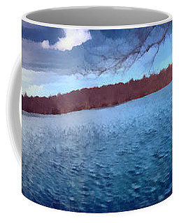 Coffee Mug featuring the painting Mohegan Lake Panoramic Lake by Derek Gedney
