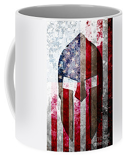 Molon Labe - Spartan Helmet Across An American Flag On Distressed Metal Sheet Coffee Mug by M L C