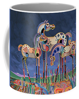 Coffee Mug featuring the painting Mom And Foals by Bob Coonts
