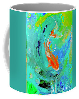 Coffee Mug featuring the painting Moments With Koi by Lisa Kaiser