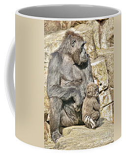 Coffee Mug featuring the photograph Momma And Baby Gorilla by Jim Fitzpatrick