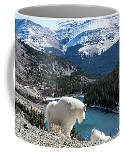 Momma Goat And Kid Overlooking Blue Lakes Coffee Mug