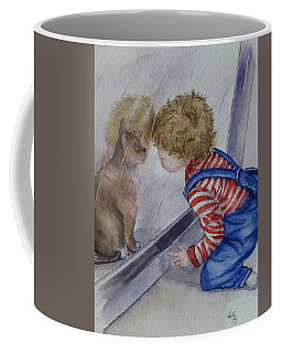 Coffee Mug featuring the painting Mommy Kitty Wants To Come In... by Kelly Mills