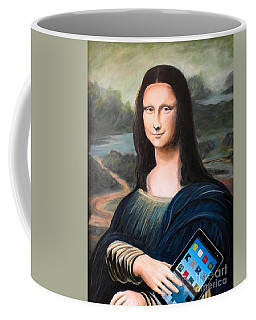Mona Lisa With Ipad Coffee Mug