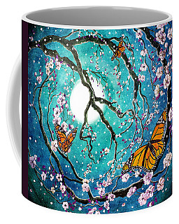 Monarch Butterflies In Teal Moonlight Coffee Mug by Laura Iverson