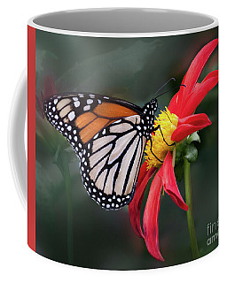 Monarch  Butterfly Enjoying A Dahlia Coffee Mug