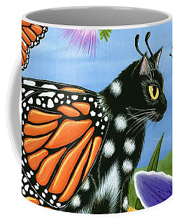 Monarch Butterfly Fairy Cat Coffee Mug