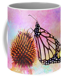 Monarch Butterfly On Coneflower Abstract Coffee Mug