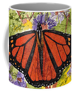 Monarch Butterfly On Purple Flowers Watercolor Batik Coffee Mug