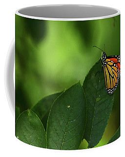 Monarch On Leaf Coffee Mug by Ann Bridges
