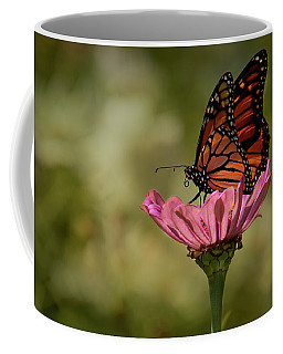 Monarch On Pink Zinnia Coffee Mug