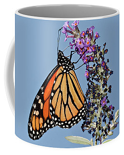 Coffee Mug featuring the photograph Monarch Orange And Blue Mug by Lara Ellis