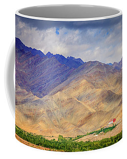 Coffee Mug featuring the photograph Monastery In The Mountains by Alexey Stiop