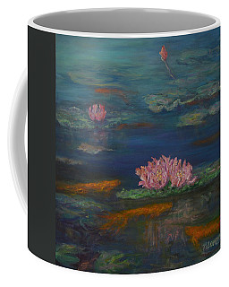 Monet Inspired Water Lilies With Gold Fish In A Pond Coffee Mug